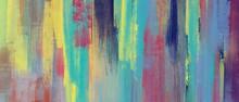 油彩抽象背景)壁に落書き風のカラフルなブラシストローク 黄色 紺 緑 油絵 アート かすれ バナー