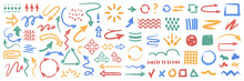 Doodles, Hand Drawn Flat Cartoon Icons Set Isolated. Vector Arrows, Direction Pointers And Objects, Lines And Shapes, Patterns. Vector Circle Repeating Navigation Cursors, Done And Check Marks