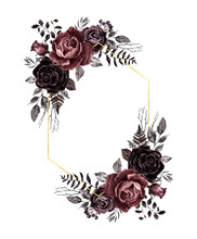 Vintage Victorian Style Floral Frame With Fold Border, Black, Mauve, Brown Roses And Dark Leaves. Retro Wedding Invitation Template, Floral Botanical Wreath, Isolated On White Background