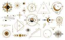 Magic Witchcraft Wicca Occult Symbols Mystical Geometric Signs Isolated. Vector Esoteric, Spiritual Inspired Magician Mystical Amulets. Magical Signs, Evil Eye, Celestial Symbols Of Moon Phase