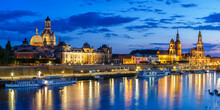 Dresden Frauenkirche Church Skyline Elbe Old Town Panorama In Germany At Night