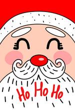 Cute New Year Card With Santa Claus