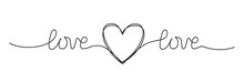 Doodle Heart And Word LOVE Hand Written Scribble