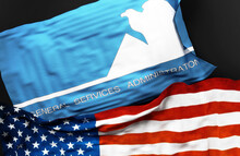 Flag Of The General Services Administration 1973 To 1989 Along With A Flag Of The United States Of America As A Symbol Of Unity Between Them, 3d Illustration