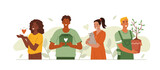 Characters doing different volunteering activities. Volunteers collecting money for donation, sharing charity fundraising, helping animals and environment. Flat cartoon vector illustration isolated.
