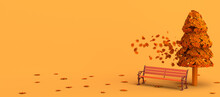 Autumn Landscape With A Bench And Tree Leaves Flying And Falling. Copy Space. 3D Illustration.