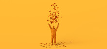 Man Playing With Dry Leaves By Throwing Them In The Air. Copy Space. 3D Illustration.