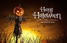 Vector Illustration Of Halloween Pumpkin Scarecrow On A Wide Field With The Moon On A Scary Night