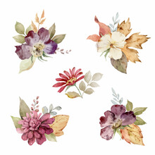 Watercolor Set Of Autumn Bouquets Of Flowers And Leaves.
