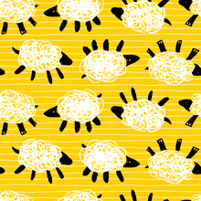 Vector Yellow Sheep Zzz Simple Rows Cute Doodles Seamless Pattern With Stripes. Suitable For Textile, Gift Wrap And Wallpaper.