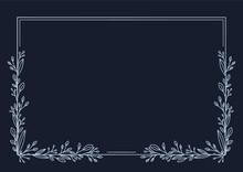 Wzór Ramki Z Listkami Na Ciemnym Granatowym Tle. Szablon Do Projektowania Wizytówki, Kartek Urodzinowych, życzeń, Gratulacji, Wzór Zaproszenia ślubnego, Broszury, Tło Do Social Media Lub Na Blog.