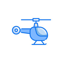 Helicopter Vector Blue Colours Icon Style Illustration. Eps 10 File