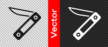 Black Swiss Army Knife Icon Isolated On Transparent Background. Multi-tool, Multipurpose Penknife. Multifunctional Tool. Vector