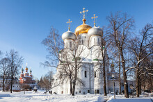 Novodevichy Monastery. The Cathedral In Honor Of The Smolensk Icon Of The Mother Of God And The Church Of The Intercession Of The Most Holy Theotokos Over The Southern Gate Moscow, Russia