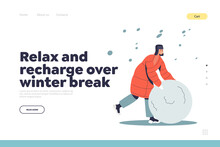 Winter Break Concept Of Landing Page With Boy In Warm Winter Clothes Making Snowball For Snowman
