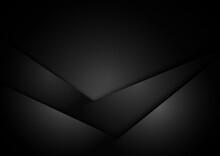 Abstract Luxury Shiny Black And Grey Triangles Layered Overlapping Background And Texture.