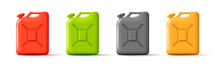 Set Of Plastic Jerrycan Canister For Oil Or Fuel, 3d Render Style