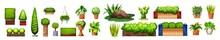 Different Species Of Plants. Collection Of Different Decor House Indoor Garden Plants In Pots And Stands. Pot Plant Set. Plants Plastic Decorative Container