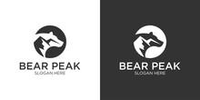 Bear With Mountain Logo Design Template