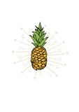 Digitally generated image of pineapple icon over floral design against white background