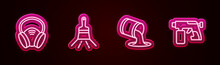 Set Line Gas Mask, Paint Brush, Bucket And Spray Gun. Glowing Neon Icon. Vector