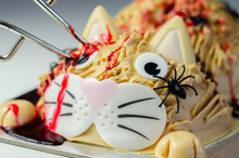Halloween Cake Cat, Layered Biscuit Cake In The Shape Of A Kitty Decorated For Halloween Party
