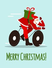 Christmas Card With Santa Claus Delivering Gifts On A Bicycle. The Concept Of Christmas And New Year.