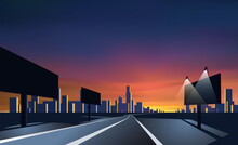 City Landscape Perspective. Road With Bill Boards. Colorful Sunset.