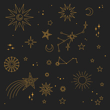 Astral Elements Vector Design. Cosmic, Celestial Background. Stars, Planets, Sun, Cosmos Linear Icons.