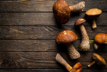 Boletus Mushrooms Over Wooden Background. Top View Autumn Background