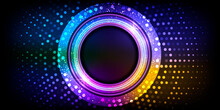 Neon Circle With Particles.Electric Round Frame.Disco Banner With Sparkles.Vector Illustration.