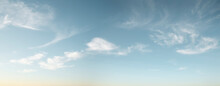 Panorama Of Blue Sky With Wispy Clouds