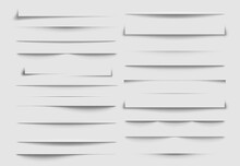 Isolated Shadow Dividers. Shadows Discarded By Paper Sheet. Vector Illustration