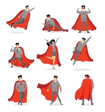 Vector Illustrations In Flat Design Of Set Of Businessmen And Businesswomen Superheroes With The Red Cloak.