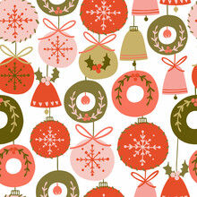 Seamless Pattern With Different Christmas Tree Decorations, Balls, Bells, Different Colors. Festive Vector Hand-drawn Illustration. Print For Fabric, Wrapping Paper, Takeaway Tableware.