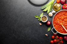 Tomato Sauce Culinary Concept, Top Down View