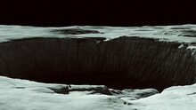 Moonscape Large Deep Crater Lifeless Barren Moon Surface Sci Fi 3d Illustration Render