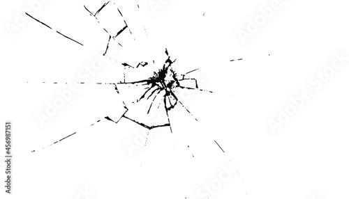 Obraz na plátně Broken glass cracks  bullet marks on glass