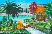 Rural Thai Farm  House On Stilts By A Flowing River