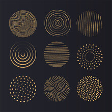 Gold Texture Drawn By Hand. Artistic Collection Of Design Elements: Dots, Brush Strokes, Paint Strokes, Wavy Lines, Abstract Backgrounds, Ink Patterns. Isolated Vector.
