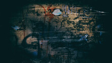 Wall Damaged By Paints And Remnants Of The Glued Paper. Background For Design. Web Banner.