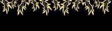 Decorative Natural Rim, Branches Of Golden Mistletoe Vector Illustration On Dark Background