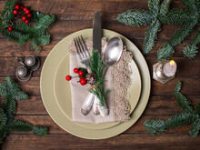 Christmas Festive Table Setting With Christmas Decorations On Wooden Background. Top View.