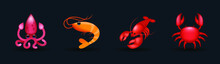 Sea, Ocean Animals Vector Illustration Emojis Collection, Icons Set. Octopus, Shrimp, Scorpion, Crab Emoji Set. Sea Mammals Collection. 3d Illustration.