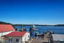 Washington State Ferry Approaching The Ferry Terminal On Orcas Island, San Juan Islands