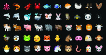 Animals Vector Emoji Illustration Set Isolated On Background. 3d Illustration.