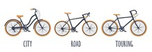 Bicycle Type Icons Set. City, Road, Touring. Vector Black And Orange Illustration