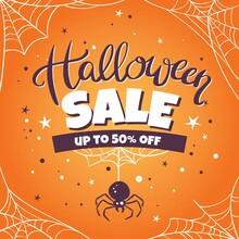 Hand Drawn Halloween Sale With Cobwebs Vector Design Illustration