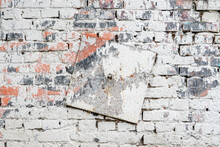 Old Dirty Brick Wall With Metal Plate. Colorful Grunge Texture, Peeling Plaster. Abstract Vintage Background