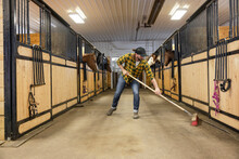 Male Farmer Sweeping Out Horse Stable